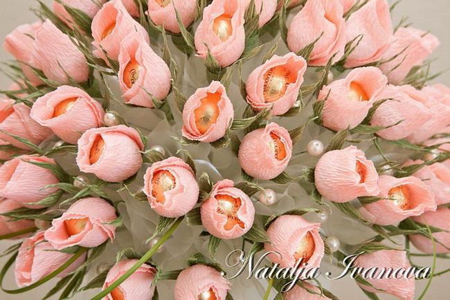 Букет из роз и конфет своими руками