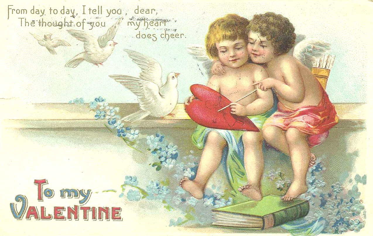"""""""Ангелочки и голуби"""". Старая открытка к 14 февраля"""