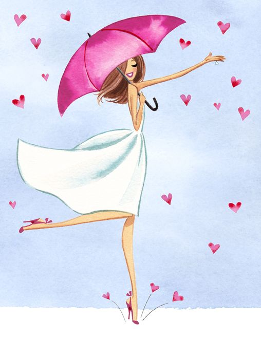 девушка под зонтиком