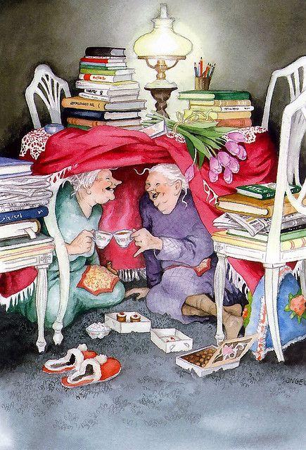 бабушки под столом пьют коньяк