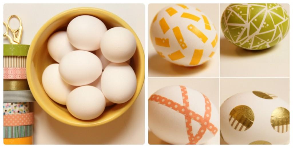 Яйца вареные, скотч, ножницы