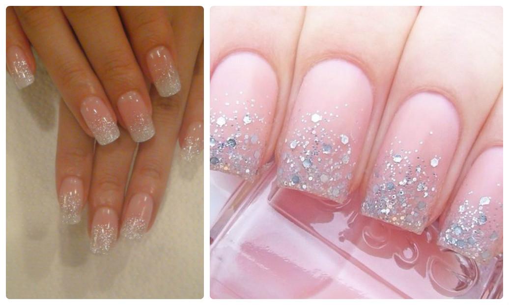 маникюр на длинные ногти для невесты с блестками