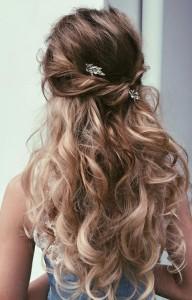 Длинные волнистые волосы невесты