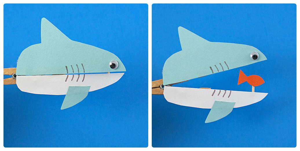 Игры с прищепками своими руками «Акула»