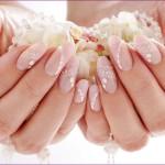 Фото свадебного маникюра на длинные ногти овальной формы